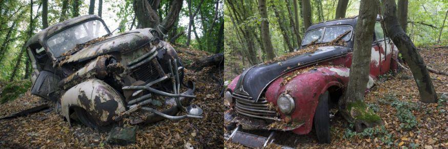 Verlaten auto's uit de jaren 50