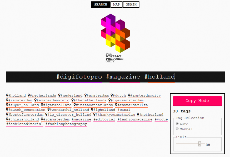 Display Purposes hashtag tool