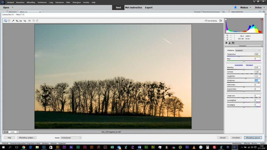 Schaduwen aanpassen Adobe Elements RAW