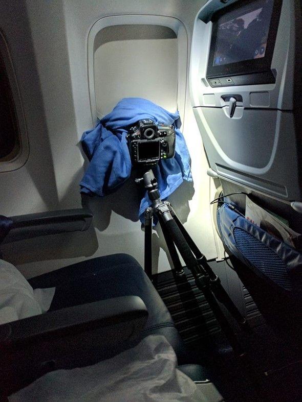 Het Noorderlicht vastgelegd vanuit vliegtuig