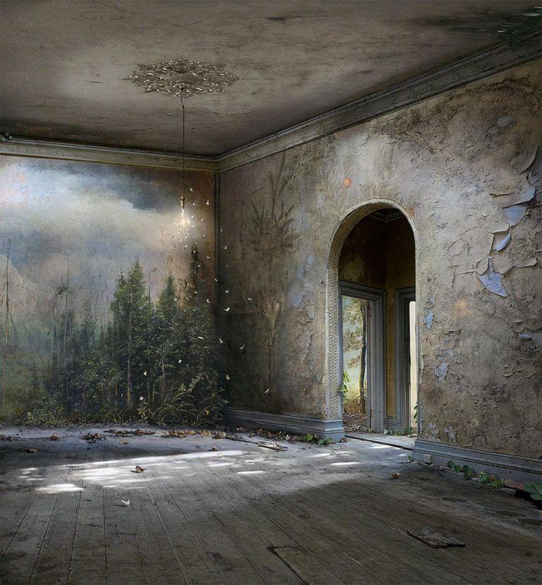 Fotografie, schilderen en collages samengevoegd