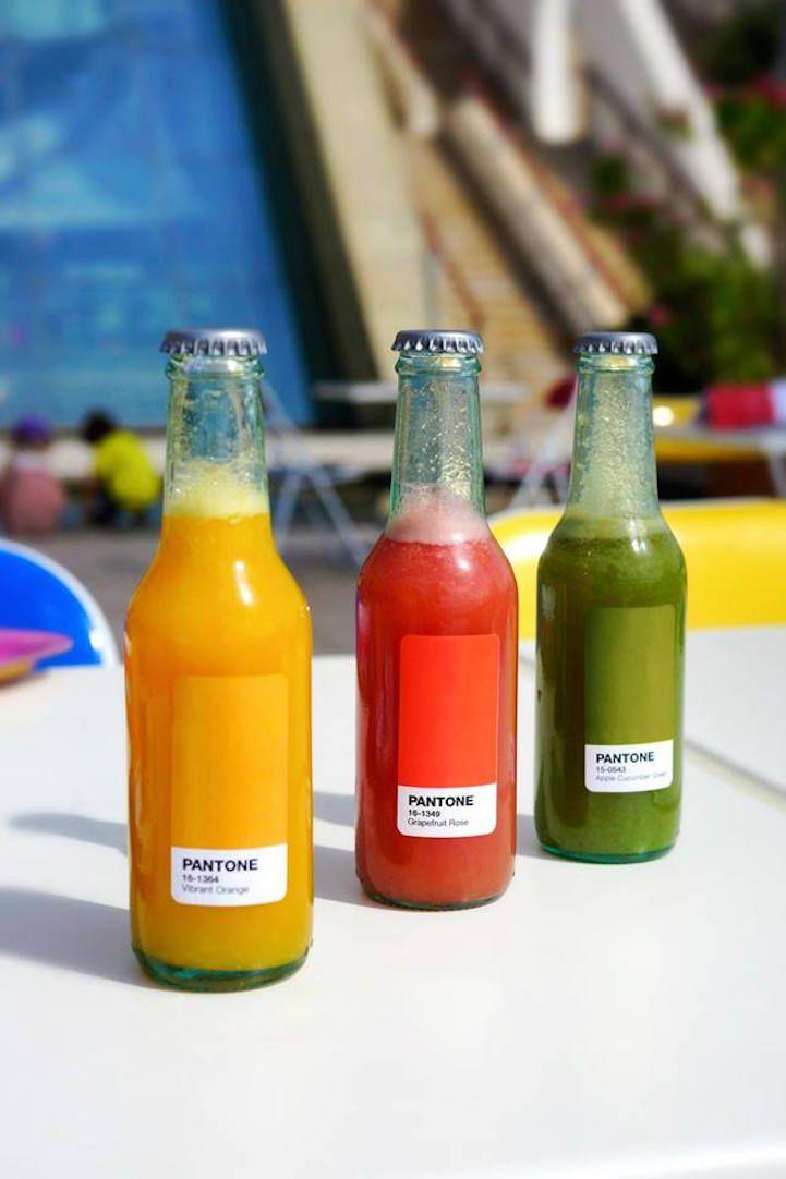Pantone Café gebruikt kleur swatches in eten en decor