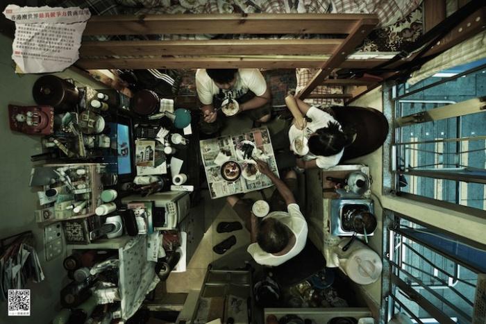 Foto's van superkleine appartementen in Hongkong