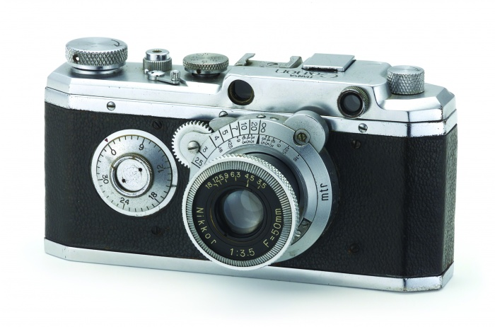 Deze Kwanon uit 1934 is het eerste prototype voor een Japanse kleinbeeldcamera.