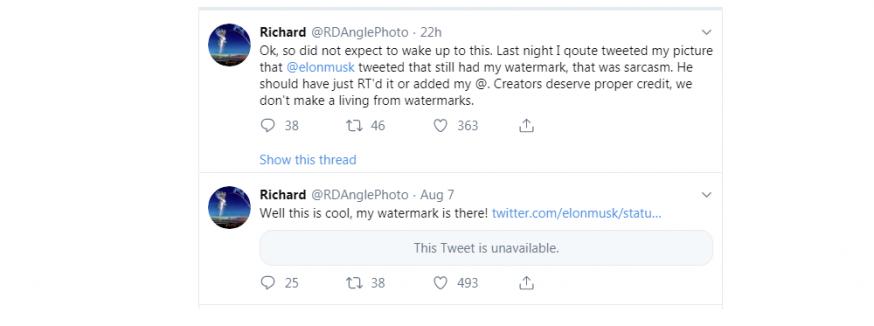 Elon Musk, credits onder foto, auteursrecht, topman Elon Musk, Tesla, Elon Musk blokkeert mensen die credits vragen