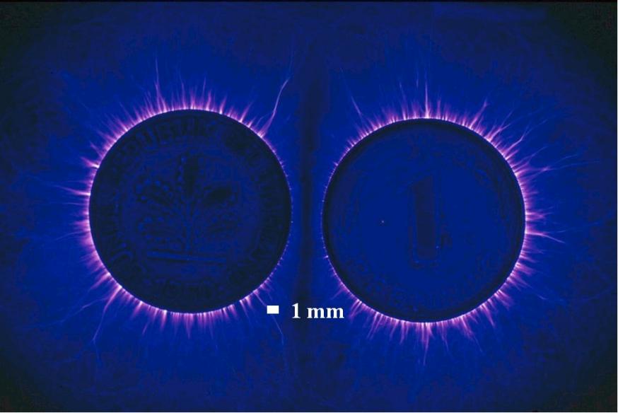 Kirlian fotografie techniek voorbeeld munten