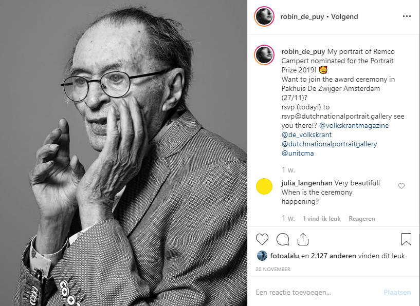 Rabo Photographic Portrait Prize 2019, Rabo Photographic Portrait Prize, prijs, Winnaar, Robin de Puy