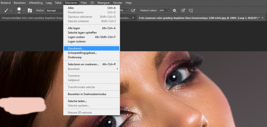 color grading foto kopiëren select kleurbereik