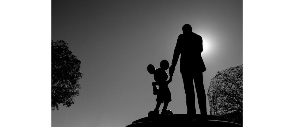 Kleurrijk Disneyland in zwart wit